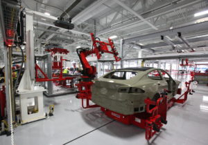 Robots at Tesla auto factory
