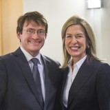 Elizabeth Sherwood-Randall, DoE deputy secretary, seen here with Nathan Michael, CMU assistant research professor of robotics