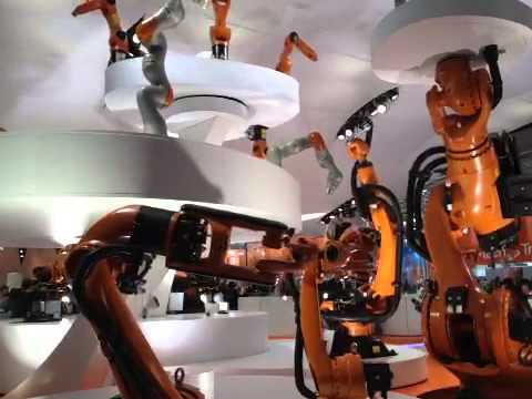 Kuka robots perform a dance at Hannover Messe opening ceremony