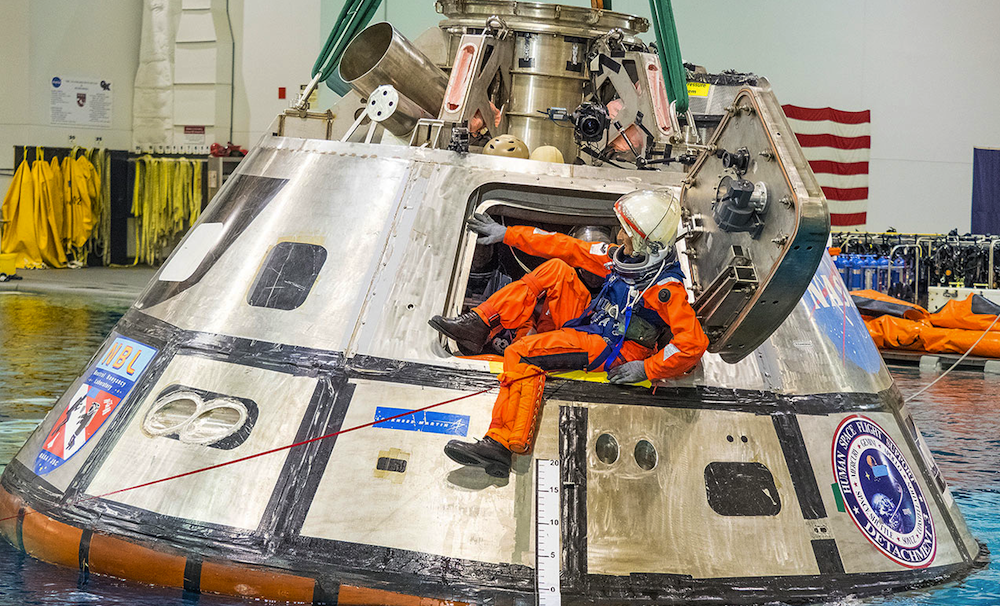 The crew hatch of the Nasa Orion spacecraft