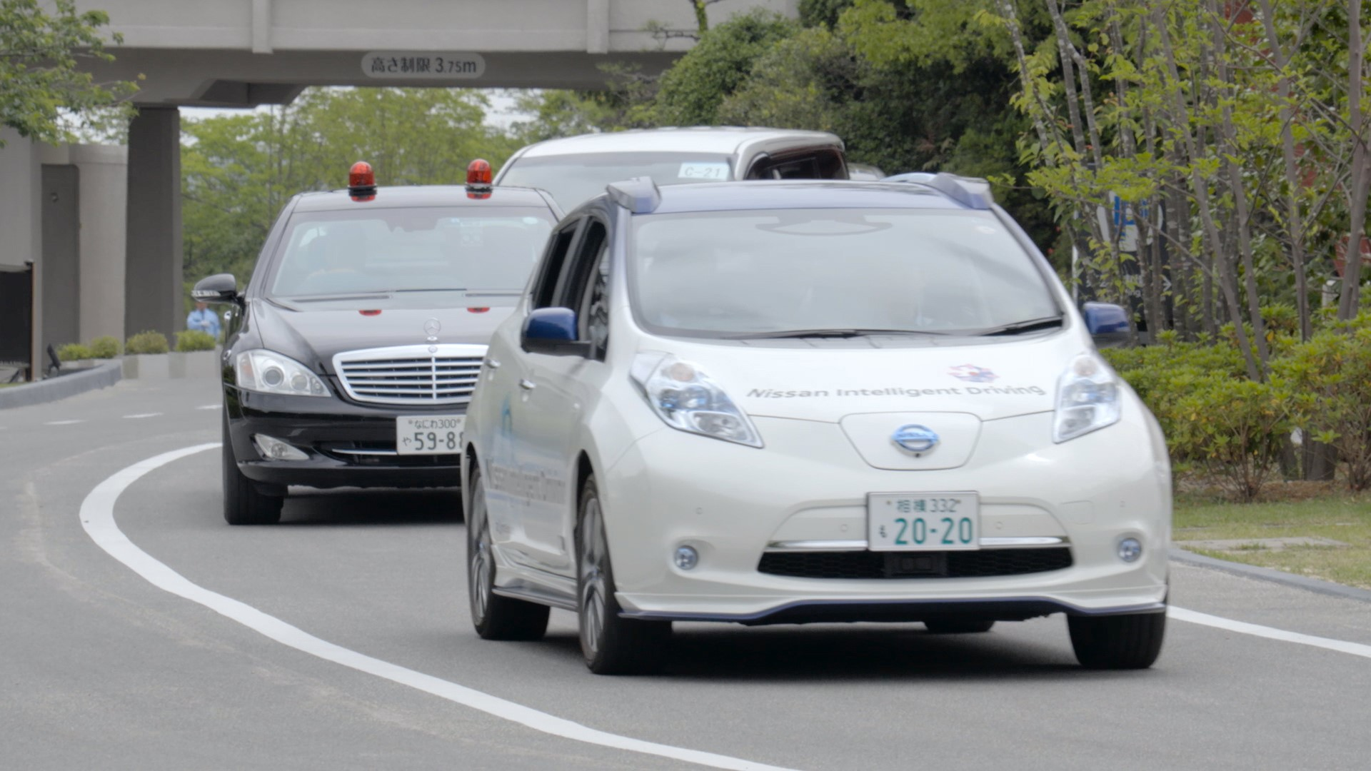 Nissan ProPilot autonomous technology applied to a Nissan Leaf car, seen here at Ise-Shima G7 Summit