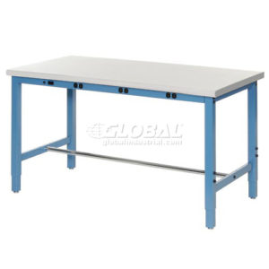 "72""W x 36""D Production Workbench with Power Apron - ESD Safety Laminate Edge - Blue"