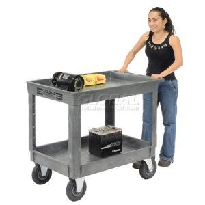 "Best Value Plastic 2 Shelf Tray Service & Utility Cart 8"" Pneumatic Caster"