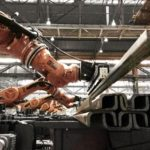 Kuka synchronises several monster industrial robots to lift giant steel beams