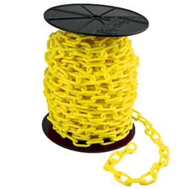 """Plastic Chain - 2"""" Links - On A Reel - Yellow - 125 Feet - Trade Size 8"""