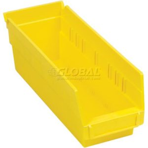 "Plastic Shelf Bin - 4-1/8""W x 11-5/8""D x 4""H Yellow - Pkg Qty 24"