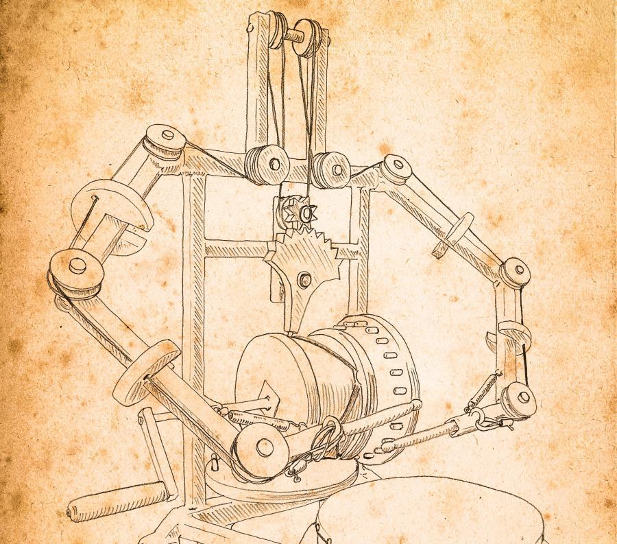Leonardo da Vinci robot drummer