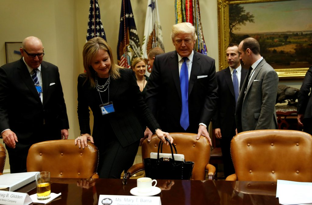 Donald Trump and Mary Barra