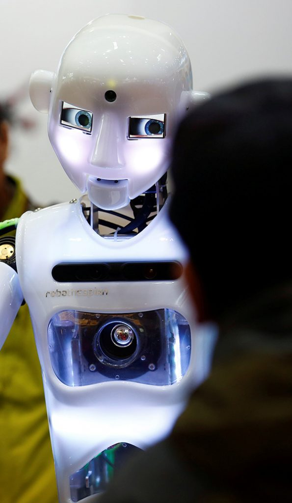 "A ""RoboThespian"" humanoid robot at the Tami Intelligence Technology stall at the World Robot Conference in Beijing, China. Picture: Reuters"