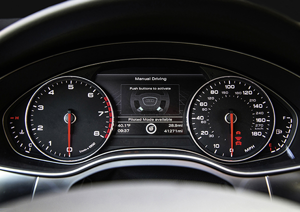 """The cockpit inside Audi's autonomous car, """"Jack"""""""
