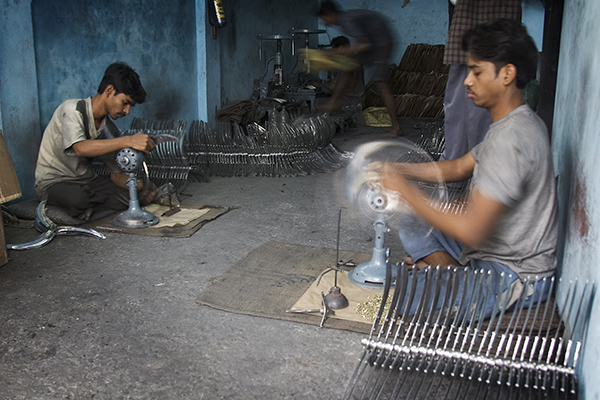 An electric fan factory, Varanasi Benares India