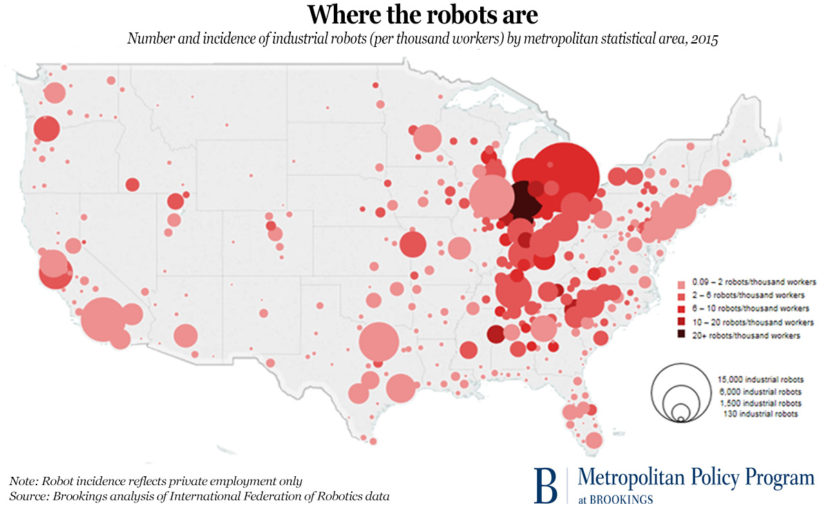 Map produced by Brookings pinpoints location of all robots in the US