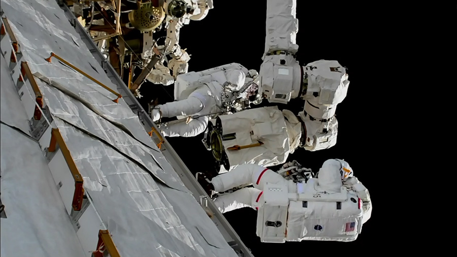 Astronauts fixing the Canadarm 2 robotic arm on the International Space Station. Picture: Nasa