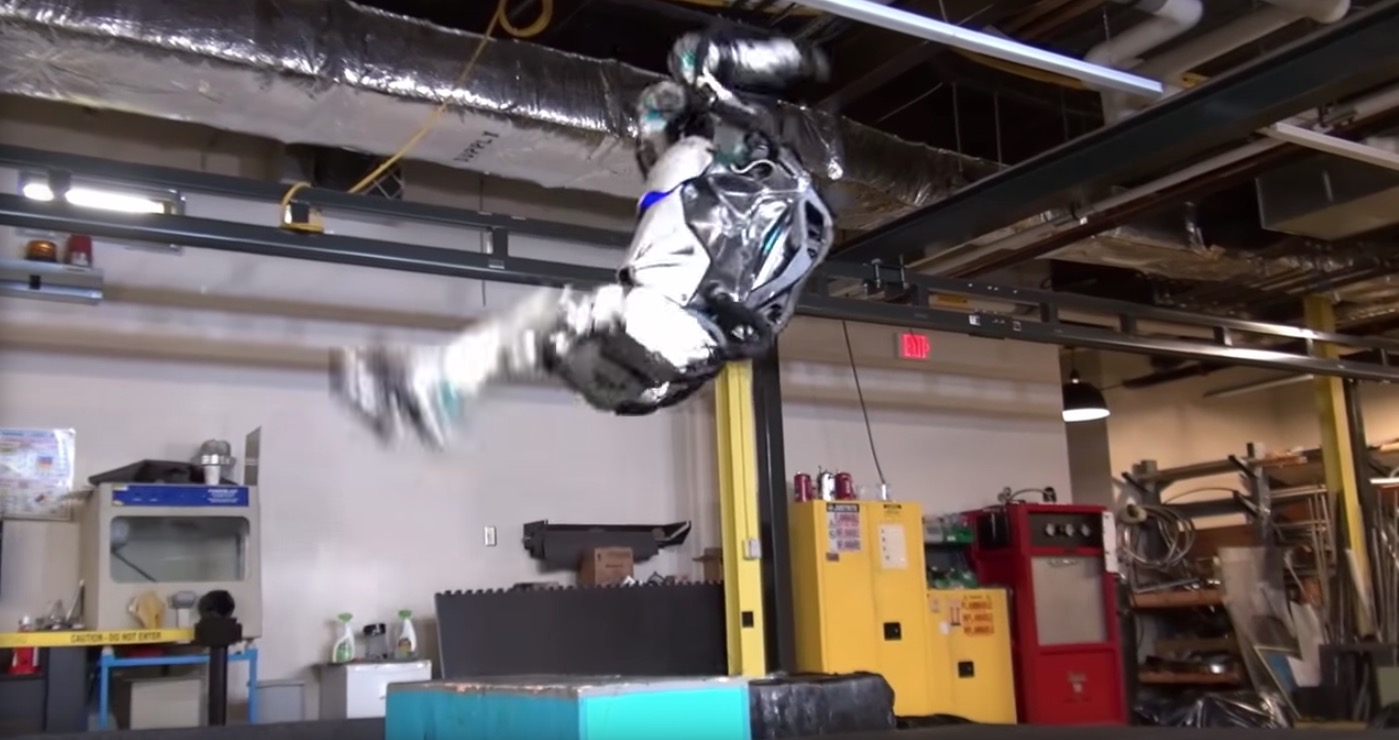 Boston Dynamics' humanoid robot, Atlas, does a backflip