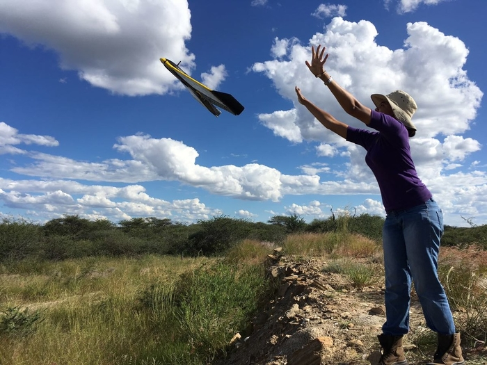 An environmentalist flies a drone to capture aerial images of rehabilitated gold mine sites in Namibia (Photo: Wikipedia Commons)