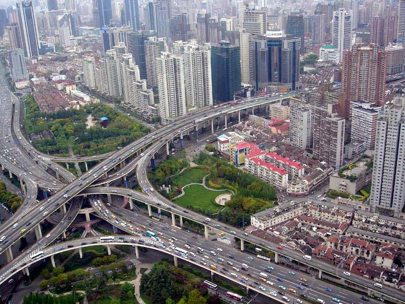 roads Viaduct in Puxi Shanghai