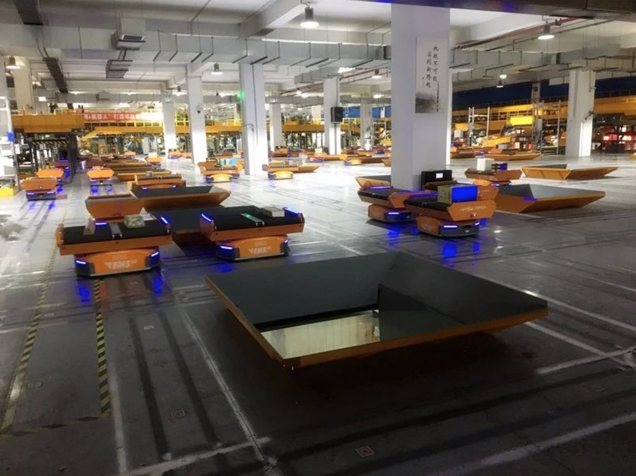 geek plus robotics warehouse dark